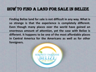 How to find a land for sale in Belize