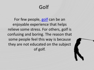 Golfing instructions - Michael Chemick