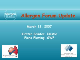 Allergen Forum Update