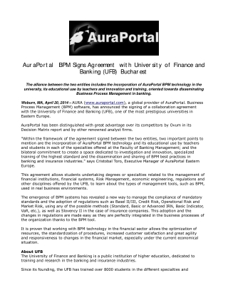 AuraPortal BPM Signs Agreement with University of Finance an