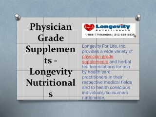 Physician Grade Supplements - Longevity Nutritionals