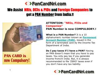 pan card for nris, pios and ocis
