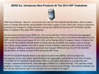 BENZ Inc. Introduces New Products At The 2014 IWF Tradeshow