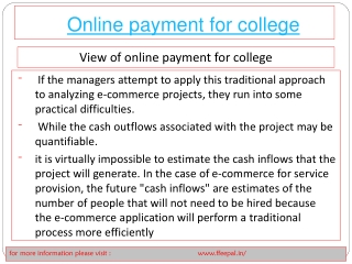 Payment processing  of online payment for college
