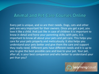Animal And Pet Care Courses Online By Learning Cloud