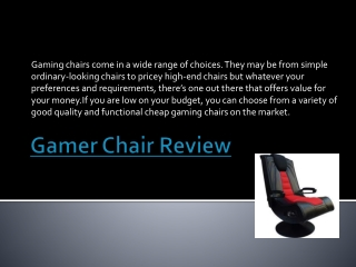 Gamer Chair Review