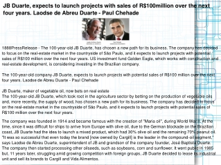 JB Duarte, expects to launch projects with sales