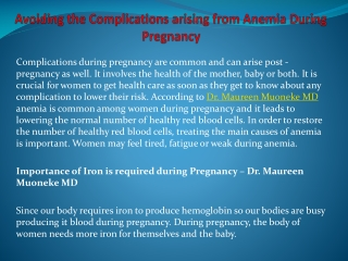 Avoiding the Complications arising from Anemia During Pregna