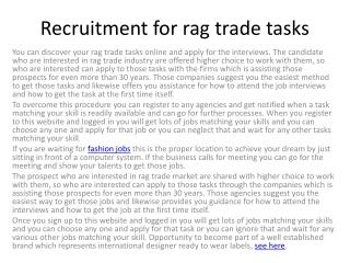 rag trade jobs