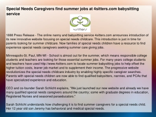 Special Needs Caregivers find summer jobs at 4sitters