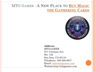 MTG Gamer: A New Place to Buy Magic the Gathering Cards