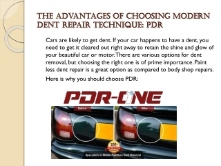 The Advantages of Choosing Modern Dent Repair Technique: PDR