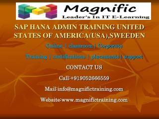 SAP HANA ADMIN TRAINING UNITED STATES OF AMERICA(USA),SWEEDE