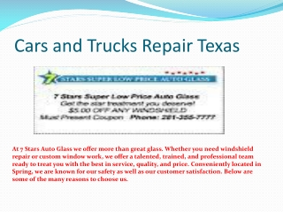 Cars and Trucks Repair Texas