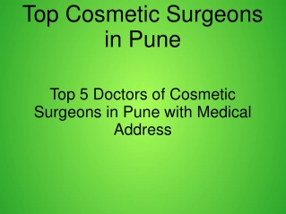 Best Doctor of Cosmetic surgery in Pune