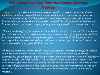 Warrantech Launches New Automotive Coverage Program