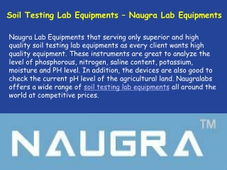 Soil Testing Lab Equipments Supplier In India