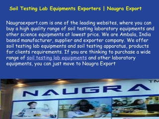 Soil Testing Lab Equipments Exporters Company In India