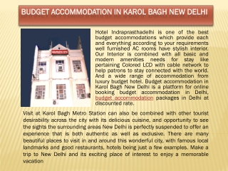 Budget Accommodation in Karol Bagh New Delhi