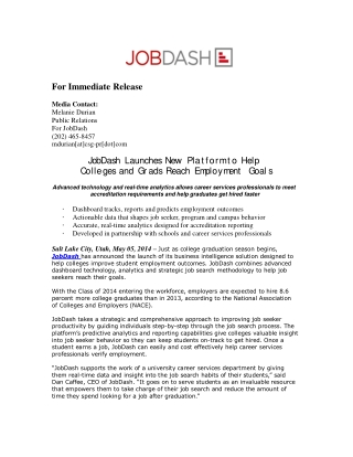 JobDash Launches New Platform to Help Colleges and Grads Rea