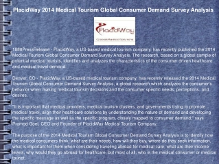 PlacidWay 2014 Medical Tourism Global Consumer