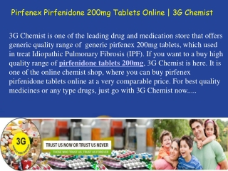 Buy Pirfenex Pirfenidone 200mg Tablets From 3G Chemist