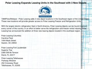 Polar Leasing Expands Leasing Units in the Southeast