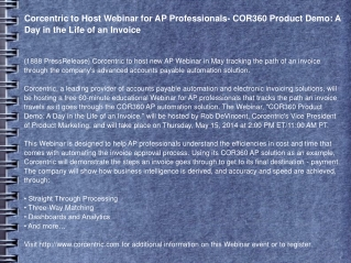Corcentric to Host Webinar for AP Professionals
