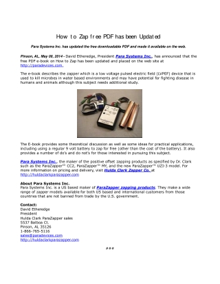 How to Zap free PDF has been Updated