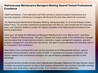 NationaLease Maintenance Managers Meeting Geared