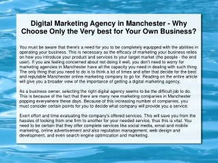 Digital Marketing Agency in Manchester - Why Choose Only the