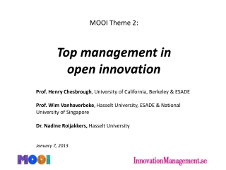 Top Management in open Innovation