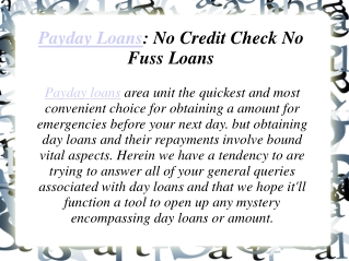 Payday Loans: No Credit Check No Fuss Loans