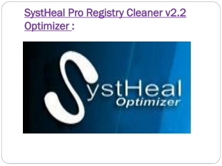 SystHeal Pro v2.2 Registry Cleaner Software