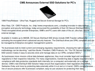 CMS Announces External SSD Solutions for PC's