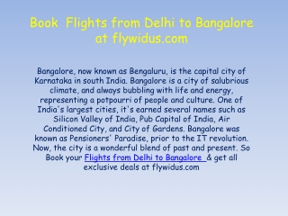 Flights from Delhi to Bangalore