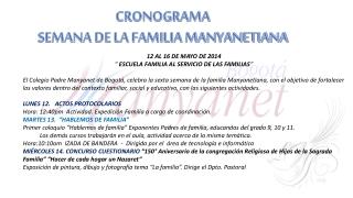 Cronograma Semana de la Familia 2014