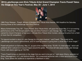 2013 LakeGeorge.com Elvis Tribute Artist Grand Champion
