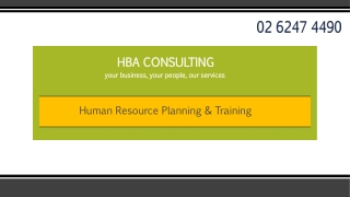 Human Resource Planning and Training