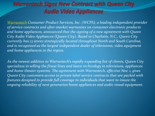 Warrantech Signs New Contract with Queen City Audio Video Ap