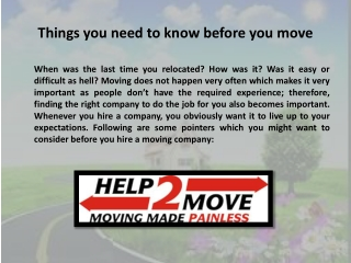 Things you need to know before you move