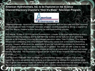 American Hydroformers, Inc. to be Featured
