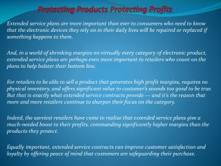 Protecting Products Protecting Profits