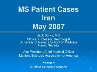 MS Patient Cases Iran May 2007