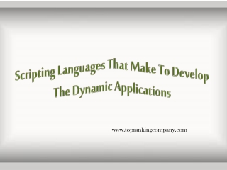Scripting Languages That Make To Develop The Dynamic Applica