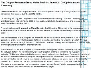 The Cooper Research Group Holds Their Sixth Annual Group