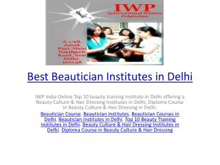 Best Beautician Institutes in Delhi