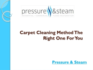 Carpet Cleaning Method - The Right One for You
