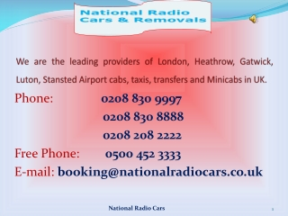Minicabs in London - National Radio Cars