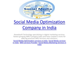 Social Media Optimization Company in India